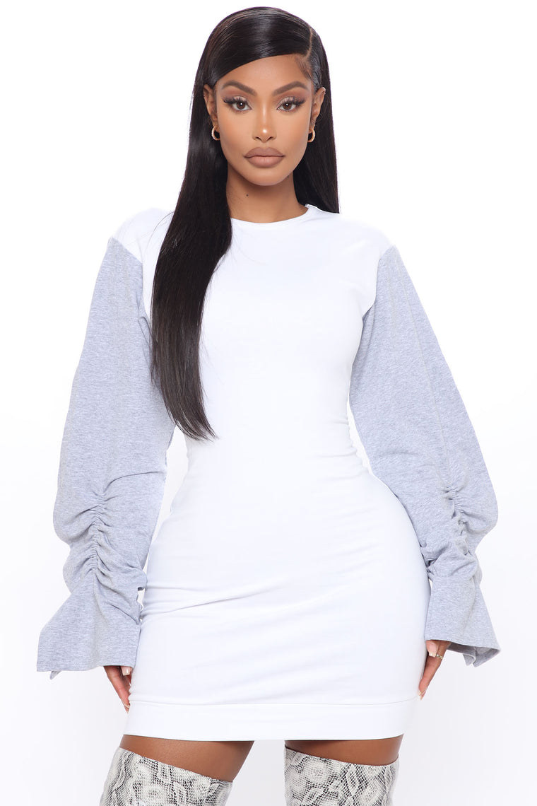Don't Sweat It Sweatshirt Mini Dress - White