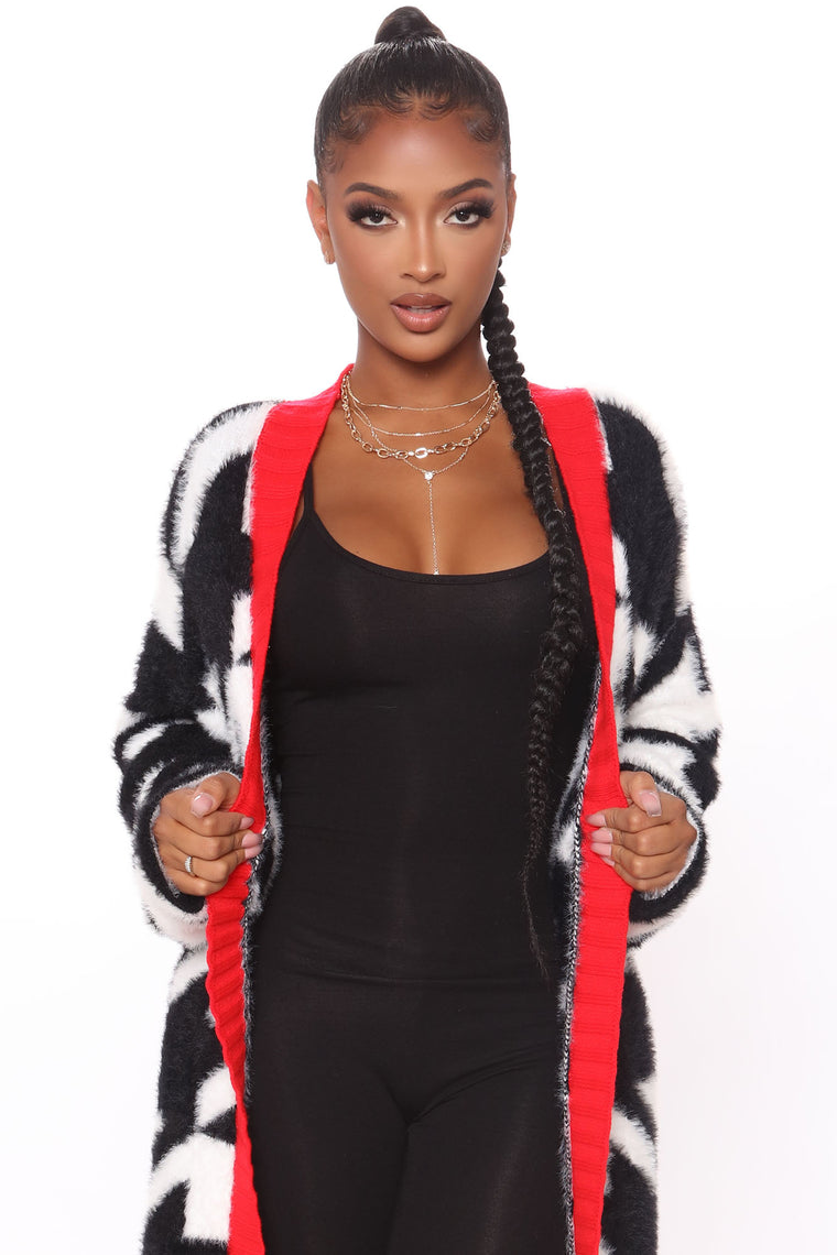 Lost And Houndstooth Fuzzy Cardigan Sweater - Black/combo