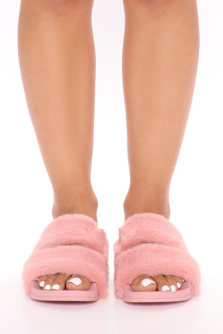 Furry Comfortable Slides - Rose