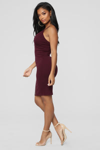 Happy Hour Everyday Dress - Plum Angle 3