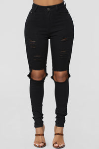 Tiana Distressed Skinny Jeans - Black