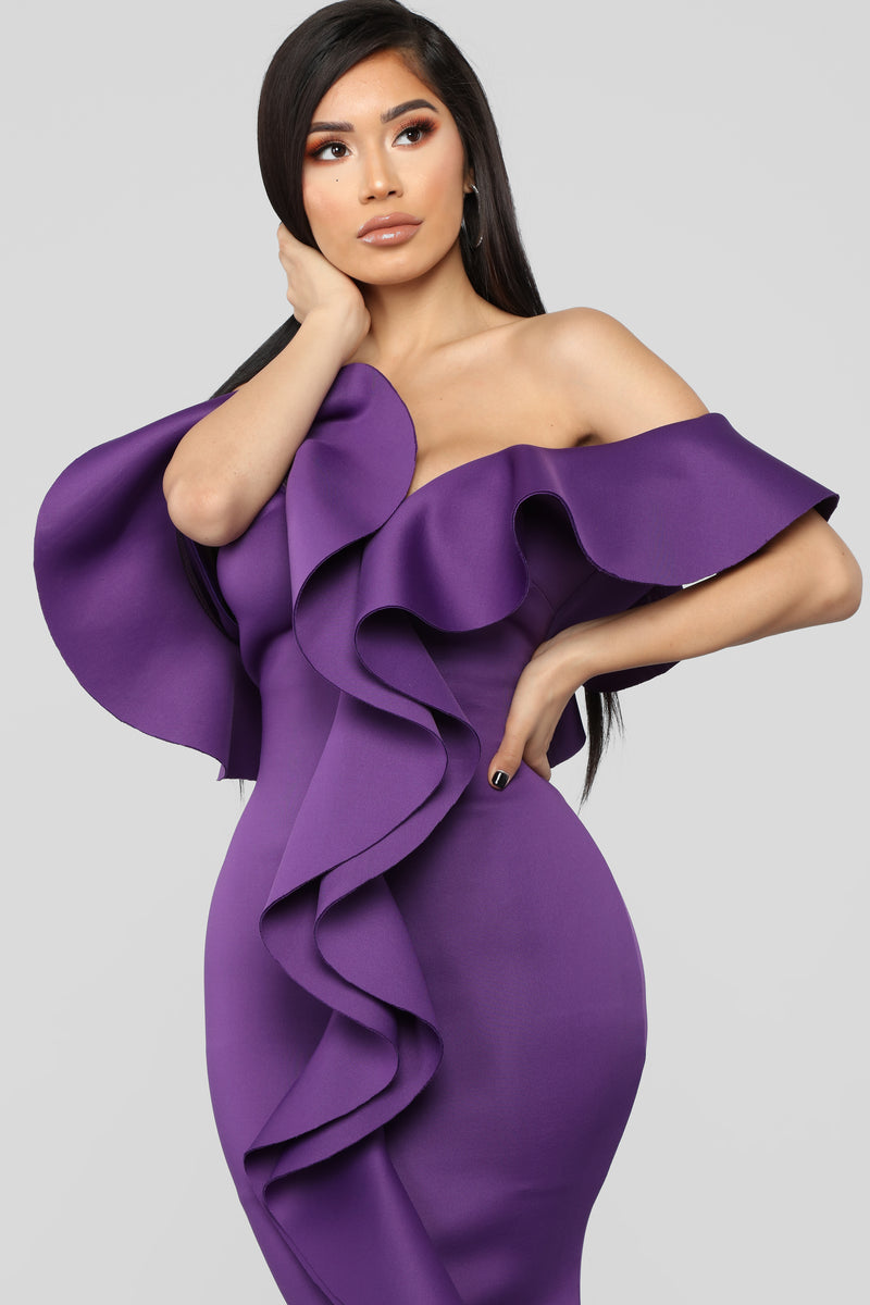 Captivate The Night Ruffle Gown - Purple