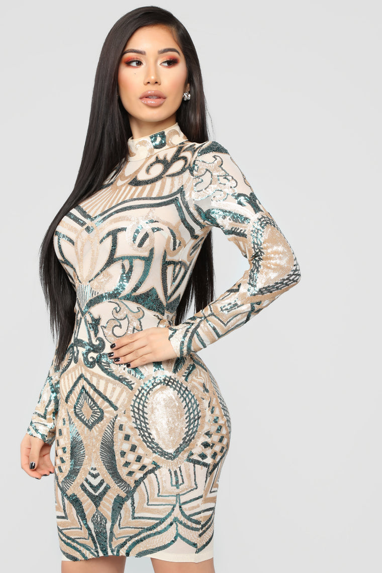 Make Me Art Mesh Dress - Gold