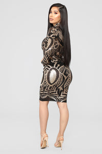 Make Me Art Mesh Dress - Black