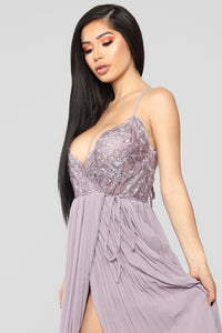 Grab Their Attention Pleated Gown - Mauve