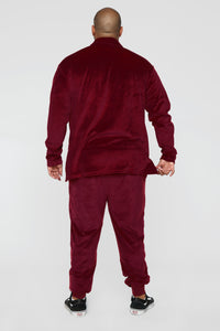 Hue Velour Track Pants - Burgundy