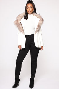 Play It Right Faux Leather Jacket - White Angle 2