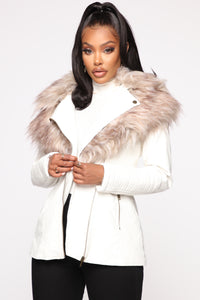 Play It Right Faux Leather Jacket - White Angle 1