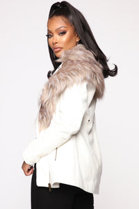 Play It Right Faux Leather Jacket - White Angle 3