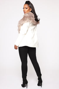 Play It Right Faux Leather Jacket - White Angle 5