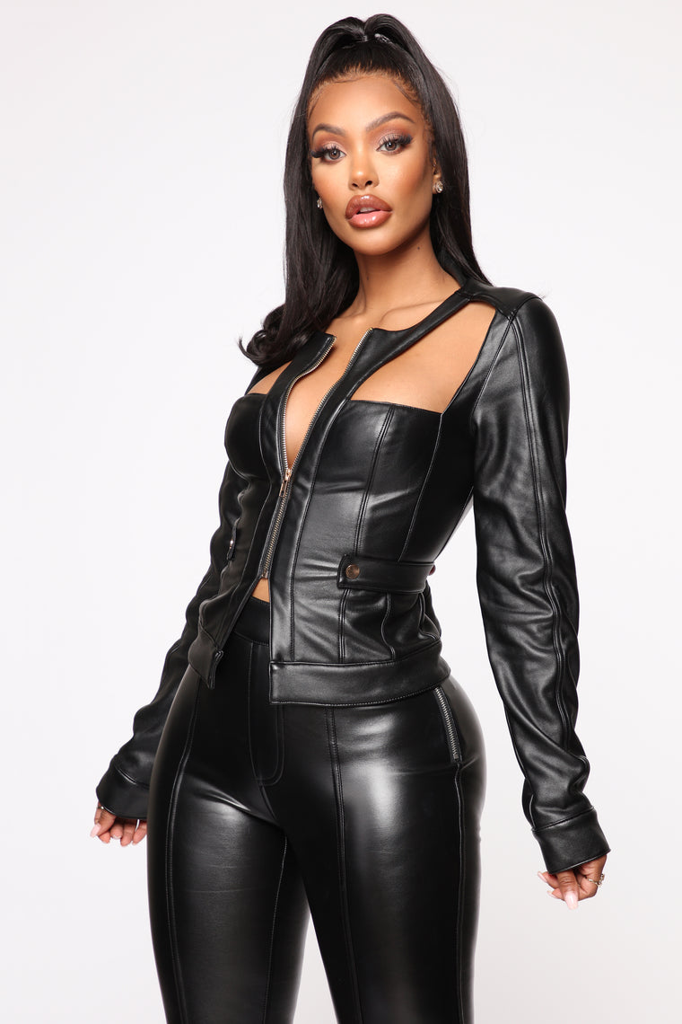 Who They Trying To Be PU Leather Top - Black