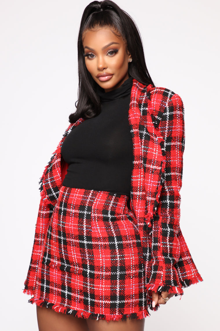 Not So Plaid Skirt Set - Red/Combo