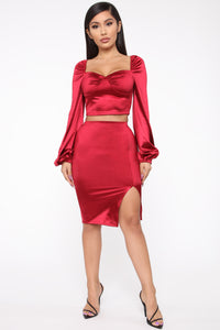 Camilla Puffed Sleeve Set - Red Angle 1