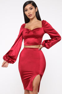 Camilla Puffed Sleeve Set - Red Angle 2