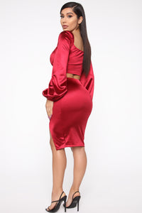 Camilla Puffed Sleeve Set - Red Angle 5