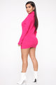 In The Long Run Sweater Micro Mini Dress - Fuchsia