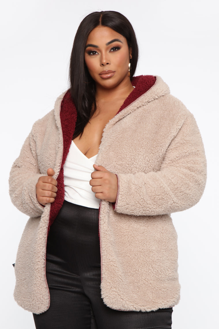 Two Faced Sherpa Jacket - Wine