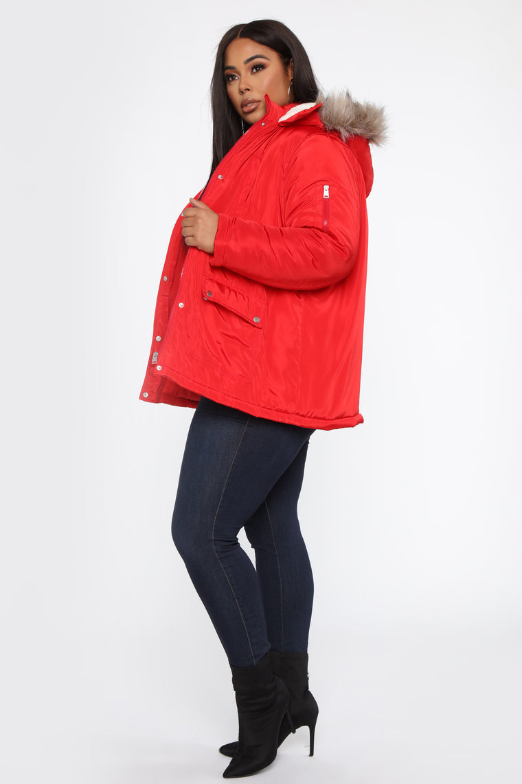 Mountain Vibes Fur Lined Jacket - Red