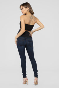 Classic High Waist Skinny Maternity Jeans - Dark Angle 5