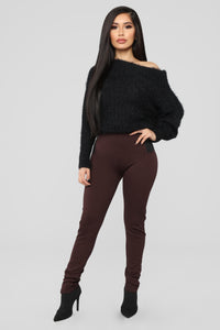 Easy Choice Stretch Ponte Pants - Coffee