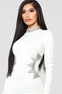 Star Mentally Rhinestone Dress - Ivory