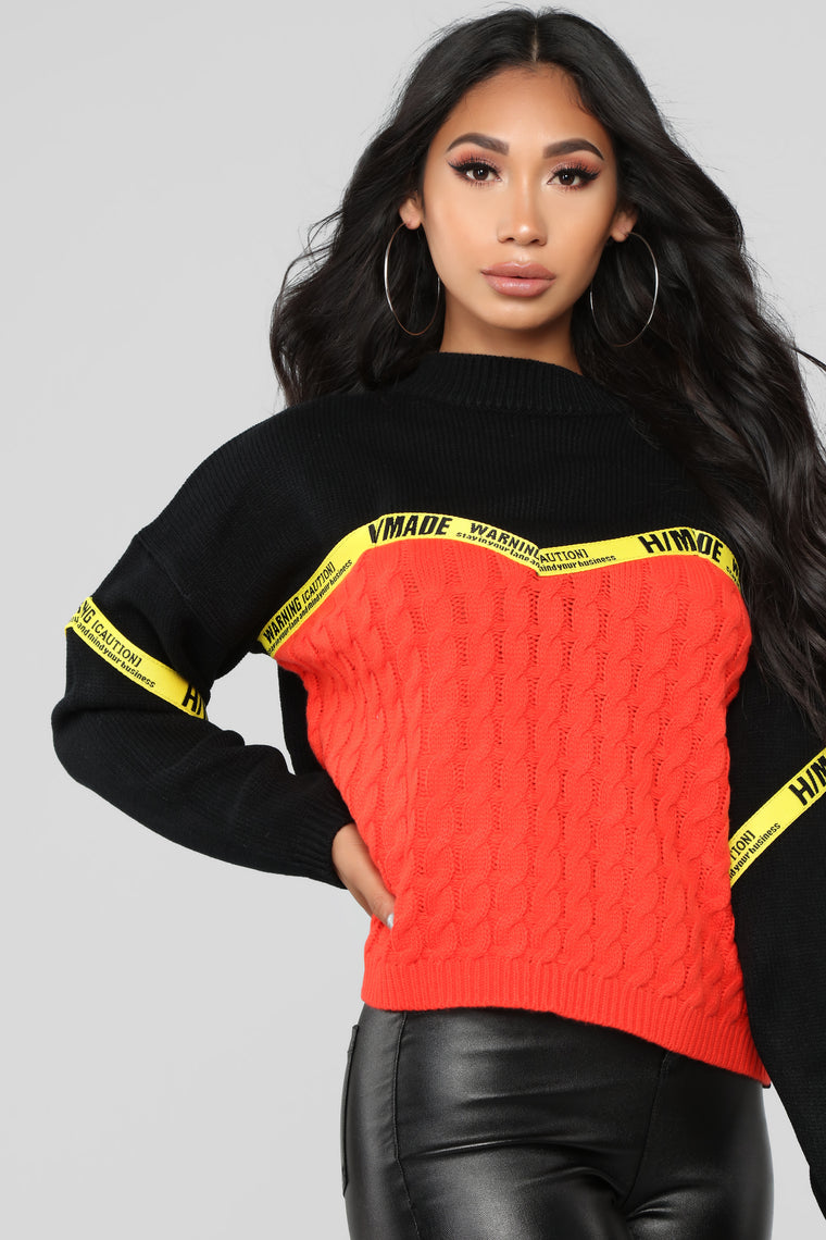 You've Been Warned Sweater - Red/combo