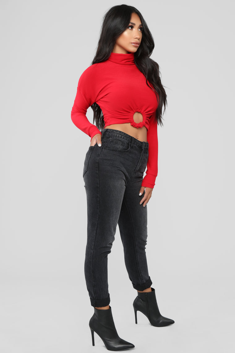 Front And Center Long Sleeve Top - Red