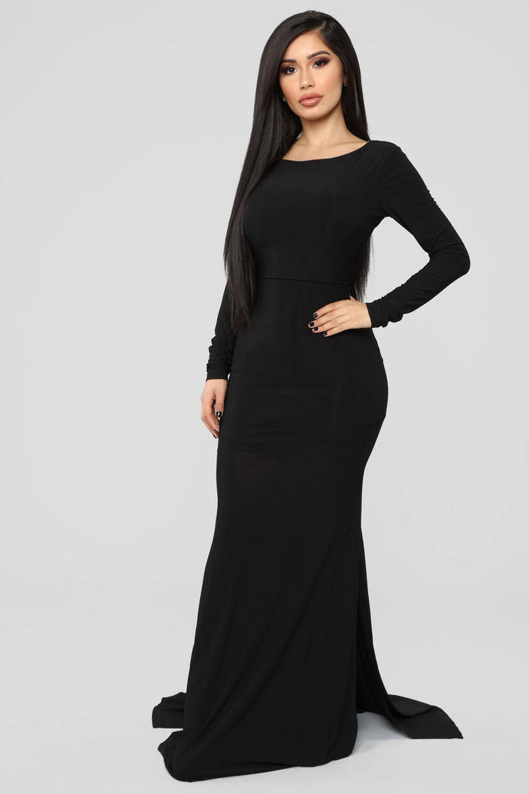 A Little Romance Backless Gown - Black