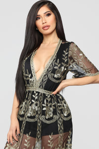 Fool To Love Embroidered Dress - Black