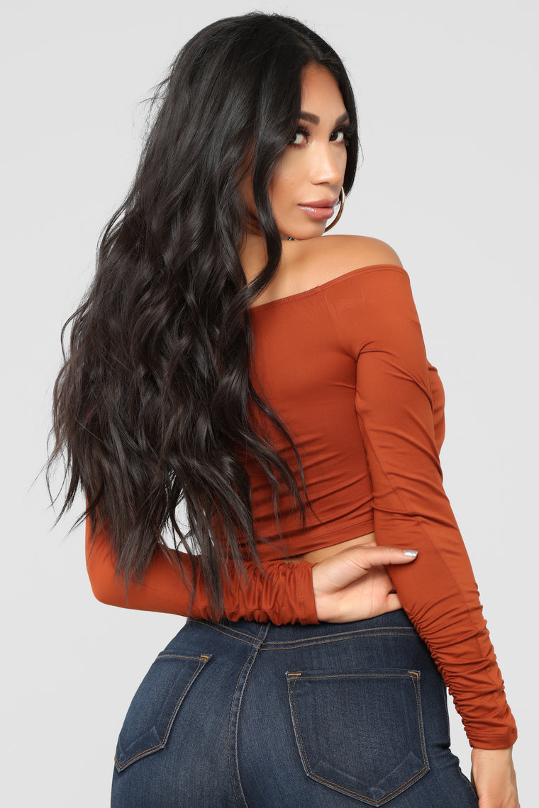 Demi Off Shoulder Top - Cognac
