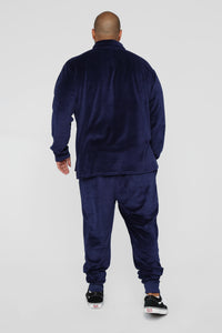 Hue Velour Track Pants - Navy