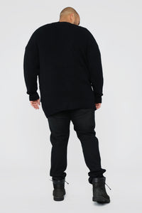 Oversized Cardigan Sweater - Black Angle 10