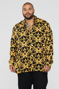 Gold Leaf Long Sleeve Woven Top - Black/Yellow Angle 7