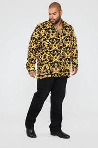Gold Leaf Long Sleeve Woven Top - Black/Yellow Angle 8