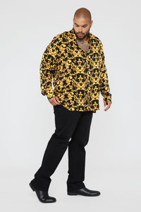 Gold Leaf Long Sleeve Woven Top - Black/Yellow Angle 10