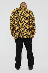 Gold Leaf Long Sleeve Woven Top - Black/Yellow Angle 12