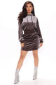 Erin Velvet Sweatshirt Dress - Charcoal