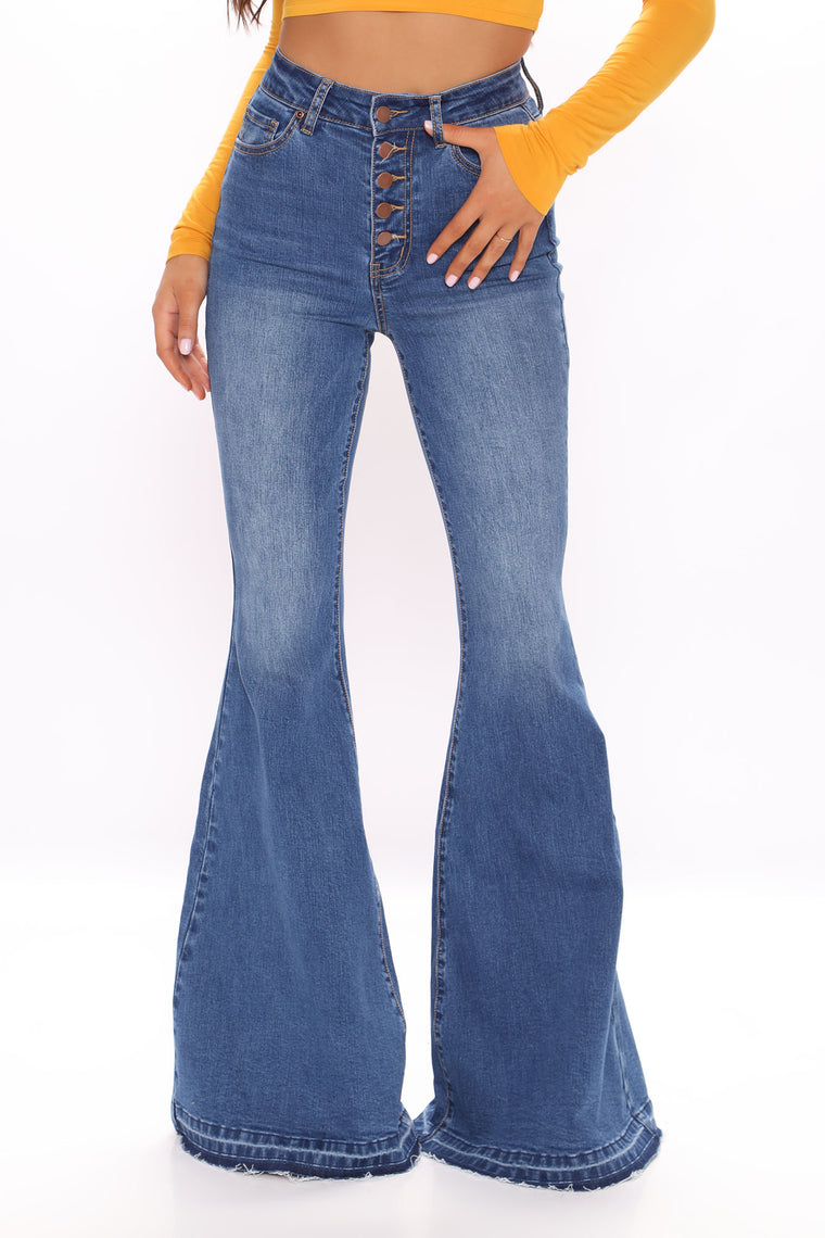 Tall Traveling The World Super Flare Jeans - Medium Blue Wash