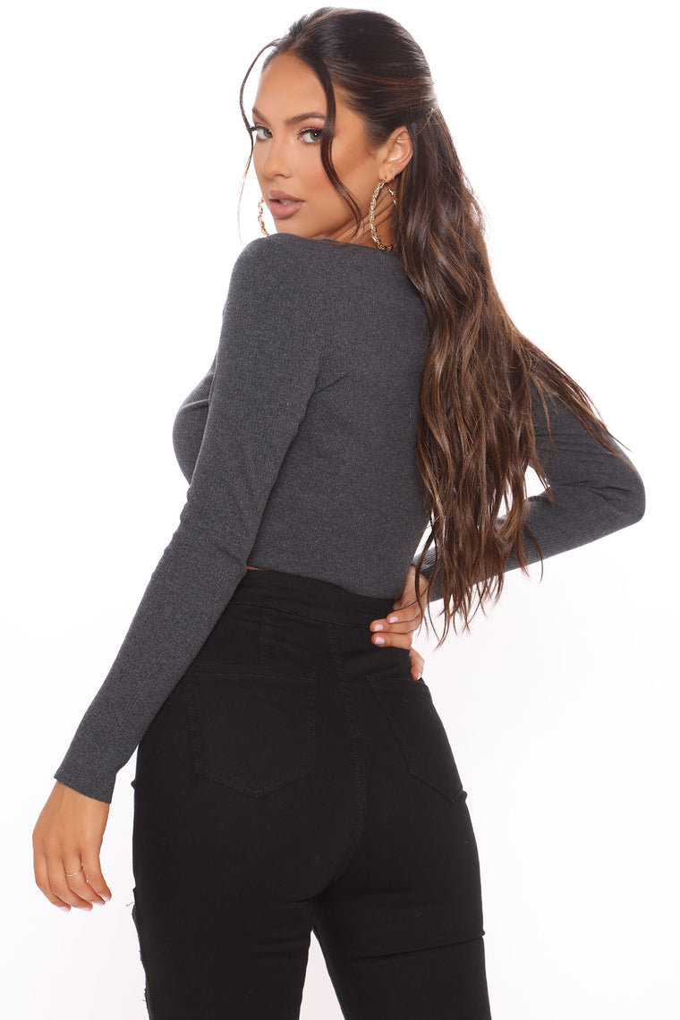 Sweet Lovey Dovey Long Sleeve Top - Charcoal