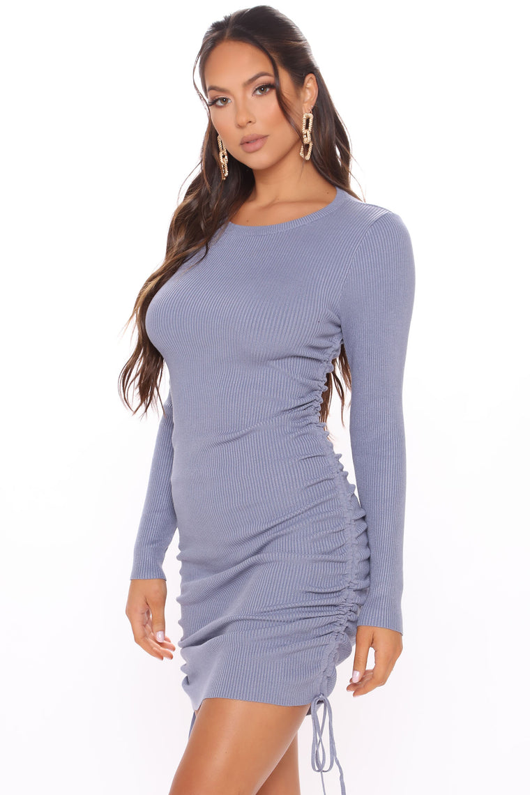 Do The Most Ruched Sweater Dress - Slate Blue