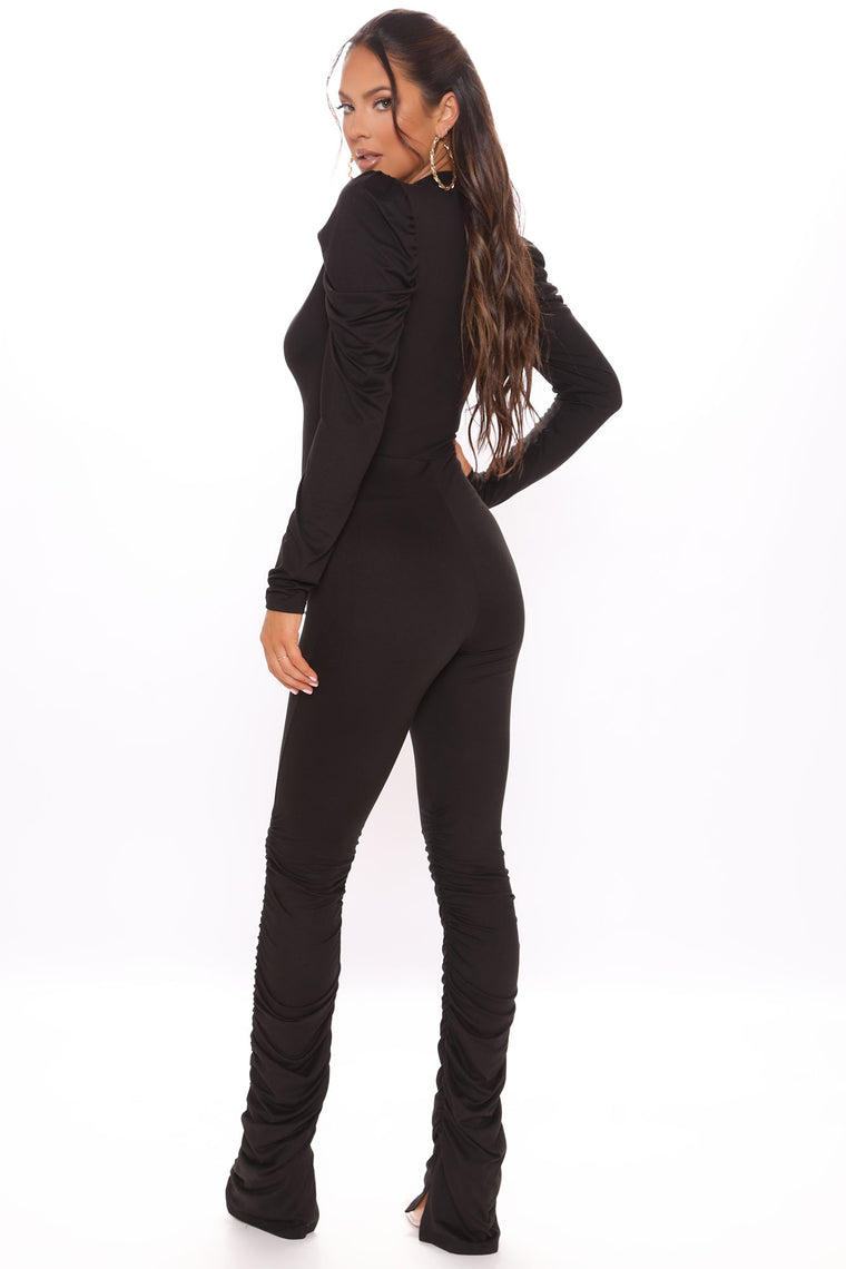 Puff Sleeve Pursuit Jumpsuit - Black