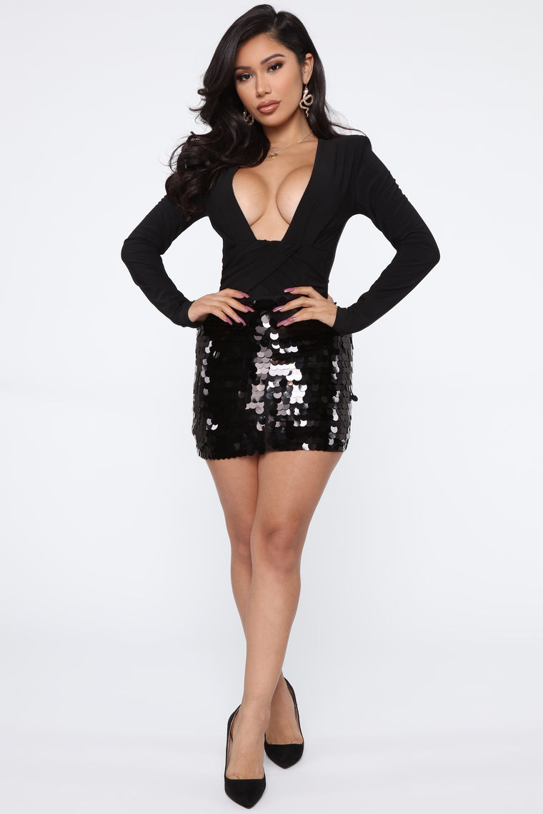 Dancing Queen Sequin Skirt   Black by Fashion Nova