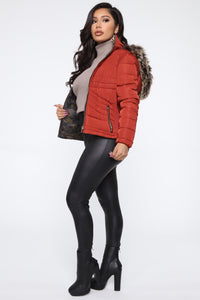 That's The Way It Is Reversible Puffer Jacket - Rust/combo