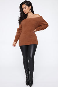 Taylor Fuzzy Off Shoulder Sweater - Cognac Angle 2