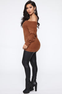 Taylor Fuzzy Off Shoulder Sweater - Cognac Angle 4