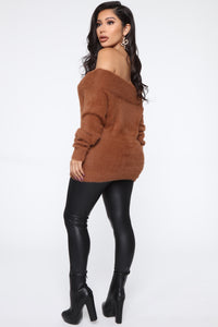 Taylor Fuzzy Off Shoulder Sweater - Cognac Angle 5