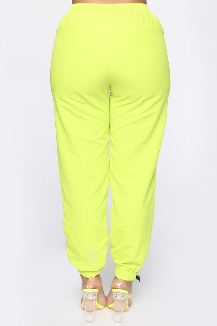On The Go Drawstring Joggers - Neon Yellow