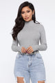 Mariah Long Sleeve Mock Neck Top - Heather Grey