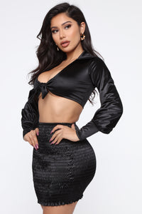 Natalia Satin Skirt Set - Black Angle 3
