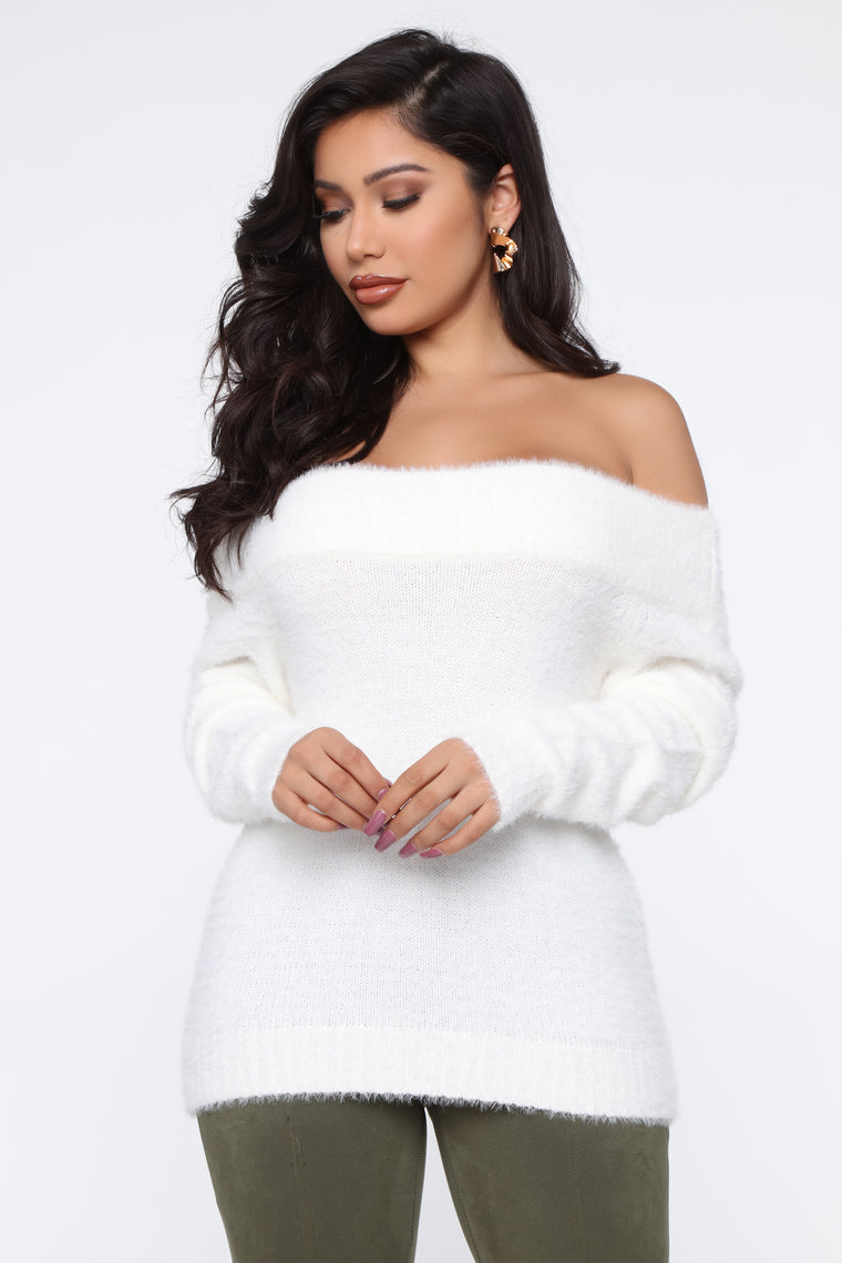 Taylor Fuzzy Off Shoulder Sweater - White